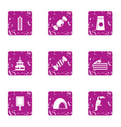 Tropical pastime icons set grunge style vector