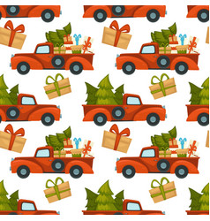 truck car with pine tree and presents pattern vector image