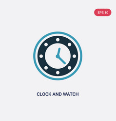 Two color clock and watch icon from tools and vector