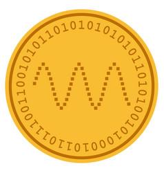 waves sinusoid digital coin vector image