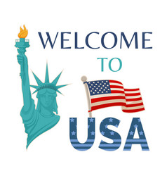 welcome to usa statue flag vector image