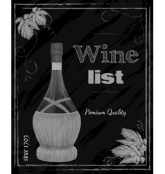 Wine list chalkboard vector image
