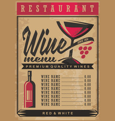 wine list menu template on old vintage paper backg vector image vector image