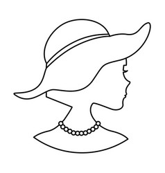 Woman silhouette with elegant hat vector