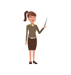 Young woman standing holding stick presentation vector