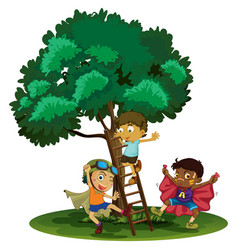boys playing hero in the park vector image