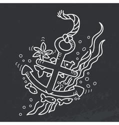 drawing of sunken anchor vector image vector image