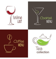 Drinks menu icons vector image vector image
