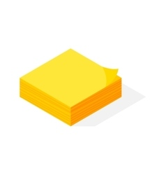 Isometric yellow sticker paper note vector image vector image