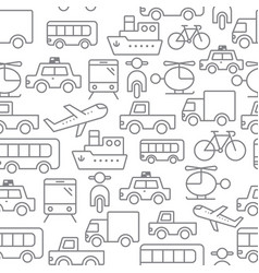 line icons seamless pattern transport vector image vector image