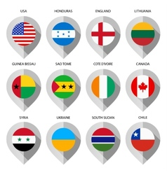 Marker from paper with flag for map - set eighth vector image vector image