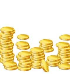 Stacks of gold coins on white background vector