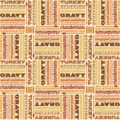 thanksgiving foods in retro fonts seamless vector image