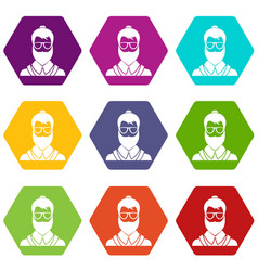 hipsster man icon set color hexahedron vector image