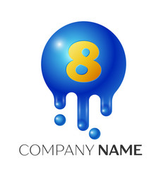 number eight splash logo blue dots and bubbles vector image