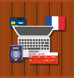 trip to france icons vector image
