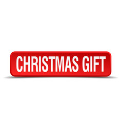 Christmas gift red 3d square button vector