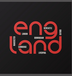england t-shirt and apparel design vector image vector image