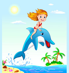 Girl and dolphin vector image