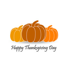 happy thanksgiving day pumpkin with shadow vector image vector image