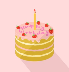 Holiday strawberry cake with a candle vector image