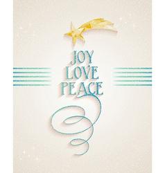 Merry Christmas Joy Love and Peace text card vector image