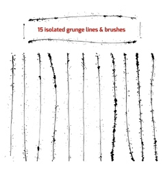 Set of isolated grunge lines and brushes vector image vector image