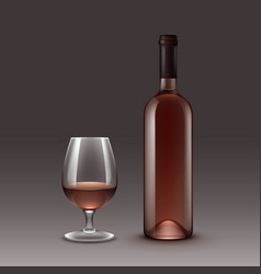 set of wine bottles and glasses on background vector image