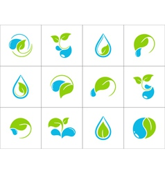 Water and leaves icons vector image