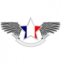 winged star with french flag vector image