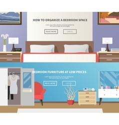 Bedroom furniture banner vector