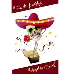 Day of the dead skull mexican hat dia de muertos vector