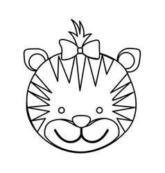 figure face tiger ribbon bow head icon vector image