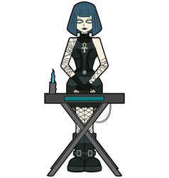 goth woman keyboardist playing on synthesizer vector image vector image