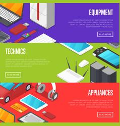 modern technics and digital appliances set vector image vector image