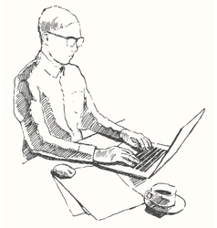 Sketch hands computer man office top view drawn vector image