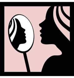 Woman looking in the mirror vector image