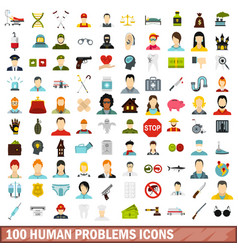 100 human problems icons set flat style vector image