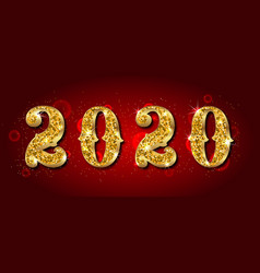 2020 text golden luxury design for happy new year vector image