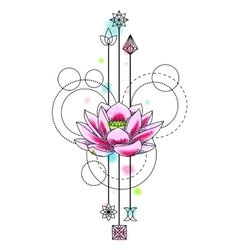 Abstract Watercolor lotus Tattoo vector image