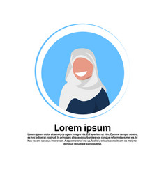 Arabic woman face avatar wearing traditional vector