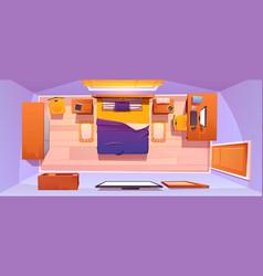 Bedroom interior set top view vector