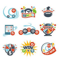Bingo lotto win icons set lottery jackpot vector