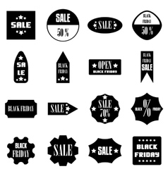 Black Friday Sales signs icons set simple style vector image