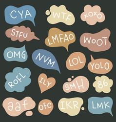 Bubble talk phrases hand draw set online slang vector