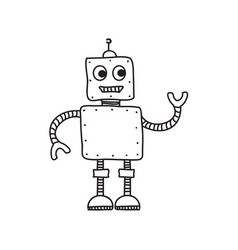 cartoon robot hand drawn doodle vector image