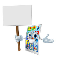 Cell phone cartoon character holding sign vector