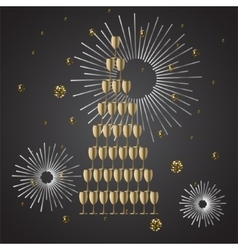 Champagne glass stack festive background vector image