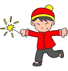 Character of boy with fireworks vector