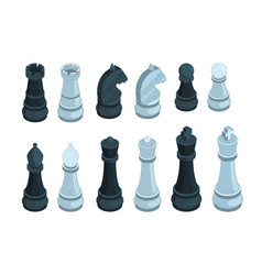 chess isometric board game figures piece queen vector image